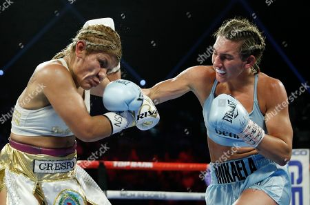 Mikaela Mayer hits Lizbeth Crespo in a boxing match, in Las Vegas