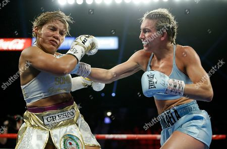 Mikaela Mayer lands a right to Lizbeth Crespo in a boxing match, in Las Vegas
