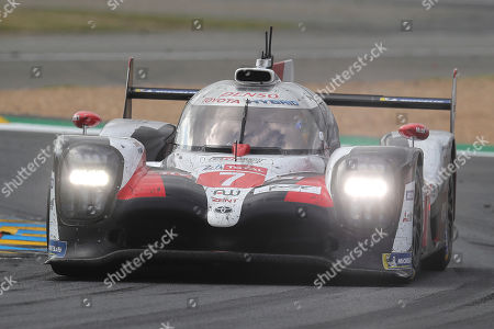 The Toyota TS050 Hybrid No7 of the Toyota Gazoo Racing Team driven by Kamui Kobayashi of Japan races during the 87th 24-hour Le Mans endurance race, in Le Mans, western France