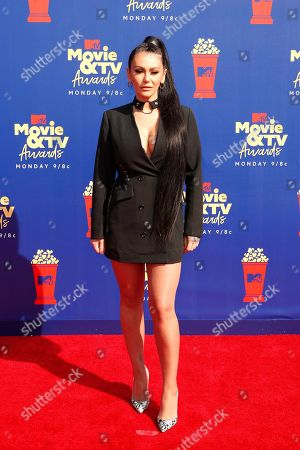 Jenni 'Jenni J-Woww Farley' Farley arrives for the 2019 MTV Movie & TV Awards at the Barker Hangar, Santa Monica, California, USA, 15 June 2019. The movies are nominated by producers and executives from MTV and the winners are chosen online by the general public.
