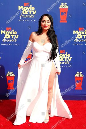 Angelina Pivarnick arrives for the 2019 MTV Movie & TV Awards at the Barker Hangar, Santa Monica, California, USA, 15 June 2019. The movies are nominated by producers and executives from MTV and the winners are chosen online by the general public.