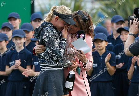 Croatia's Donna Vekic is consoled by Eurosport presenter Annabel Croft after her defeat in the final