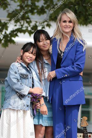 Joy Hallyday, Jade Hallyday and Laeticia Hallyday