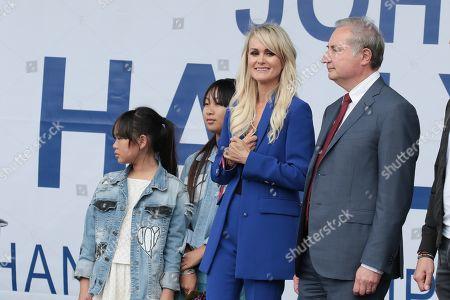 Joy Hallyday, Jade Hallyday, Laeticia Hallyday and Jean-Luc Moudenc