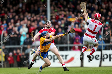 Clare vs Cork. Clare's Shane O'Donnell. Clare's Shane O'Donnell with Cork goalkeeper Anthony Nash and Damien Cahalane