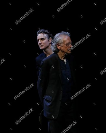 Jens Harzer (L) and Austrian author Peter Handke (R) during the Iffland-Ring awarding at the Burgtheater in Vienna, Austria, 16 June 2019. Jens Harzer receives the Iffland-Ring, which is awarded to the most worthy actor of the German speaking theatre.
