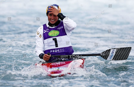 Jessica Fox of Australia reacts after finishing third in the Womens WC1 Final.