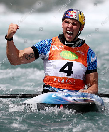 Joseph Clarke of Great Britain celebrates winning the mens MK1 Final.