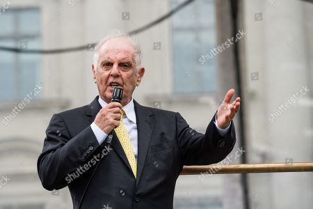 Argentinian-Israeli conductor Daniel Barenboim stands during a concert under the slogan 'Opera for All' on an open air stage in Berlin, Germany, 16 June 2019. For more than a decade the Staatskapelle Berlin and Argentinian-Israeli conductor Daniel Barenboim have been playing an open-air concert for residents of Berlin and their guests.
