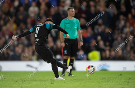 Billy Wingrove of Soccer Aid World XI takes his penalty kick during the shoot out