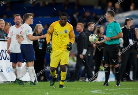 David Harewood goalkeeper of England prepares for the penalty shoot out