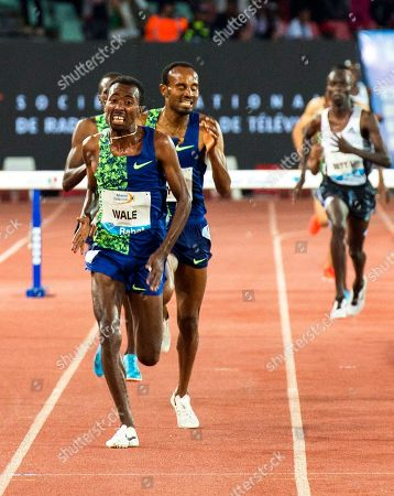 Getnet Wale (L) of Ethiopia is on his way to win the men's 3,000m Steeplechase race at the IAAF Diamond League athletics meeting in Rabat, Morocco, 16 June 2019.