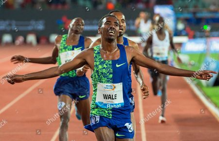 Getnet Wale (front) of Ethiopia reacts after winning the men's 3,000m Steeplechase race at the IAAF Diamond League athletics meeting in Rabat, Morocco, 16 June 2019.
