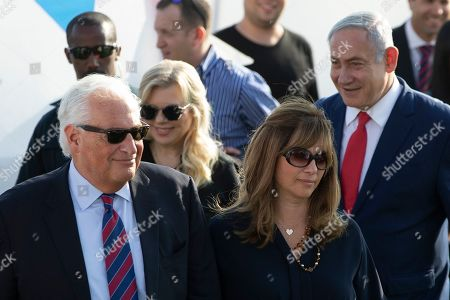 United States Ambassador to Israel David Friedman and wife Tammy, Israeli Prime Minister Benjamin Netanyahu and wife Sara arrive to the inauguration of a new settlement named after President Donald Trump in the Israeli-Controlled Golan Heights, . The Trump name graces apartment towers, hotels and golf courses. Now it is the namesake of a tiny Jewish settlement in the Israeli-controlled Golan Heights