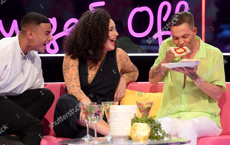 Stock Image of Wes Nelson, Rose Matafeo and Bobby Cole Norris eat the starter that Tommy made in the villa