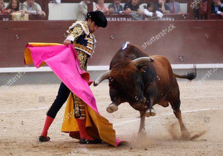 Alberto Lopez Simon performs during the 'Press Bullfighting' part of the Saint Isidore fair, at the Las Ventas bullring, in Madrid, Spain, 16 June 2019.