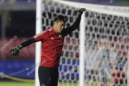 Japan's national team goal keeper Eiji Kawashima participates in a team's training at the Morumbi stadium in Sao Paulo, Brazil, 16 June 2019. Japan will face Chile on monday for a Copa America group C match on 17 June.