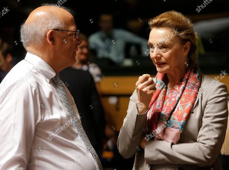 Portuguese Minister for Foreign Affairs Augusto Santos Silva (L) talks with Croatian Foreign Minister Marija Pejcinovic Buric (R) at the start of the Foreign Affairs Ministers Council meeting in Luxembourg, 17 June 2019. The Foreign Affairs Council will start with a discussion on current affairs to review pressing issues on the international agenda. Ministers, joined by defense ministers, will have a comprehensive discussion on the EU Global Strategy.