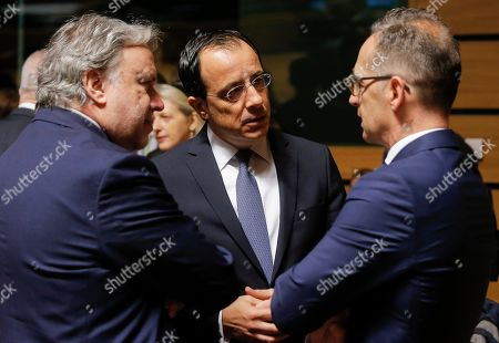 Stock Picture of (L-R) Greek Foreign Affairs Minister Giorgos Katrougalos, Cyprus Minister of Foreign Affairs Nikos Christodoulides  and German Minister of Foreign Affairs Heiko Maas at the start of the Foreign Affairs Ministers Council meeting in Luxembourg, 17 June 2019. The Foreign Affairs Council will start with a discussion on current affairs to review pressing issues on the international agenda. Ministers, joined by defense ministers, will have a comprehensive discussion on the EU Global Strategy.