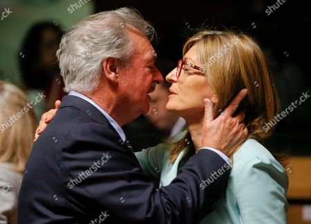 Luxembourg Foreign Minister Jean Asselborn (L) kisses with Bulgarian Foreign Minister Ekaterina Zaharieva (R) at the start of the Foreign Affairs Ministers Council meeting in Luxembourg, 17 June 2019. The Foreign Affairs Council will start with a discussion on current affairs to review pressing issues on the international agenda. Ministers, joined by defense ministers, will have a comprehensive discussion on the EU Global Strategy.