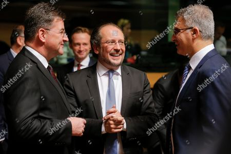 (L-R) Slovak Minister of Foreign and European Affairs Miroslav Lajcak, Foreign Minister Alexander Schallenberg and Foreign Minister of Malta Carmelo Abela talk at the start of the Foreign Affairs Ministers Council meeting in Luxembourg, 17 June 2019. The Foreign Affairs Council will start with a discussion on current affairs to review pressing issues on the international agenda. Ministers, joined by defense ministers, will have a comprehensive discussion on the EU Global Strategy.