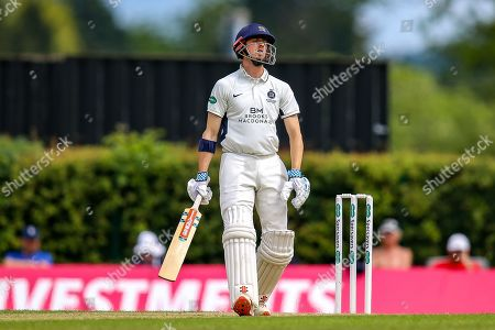 John Simpson of Middlesex shows frustration during the Specsavers County Champ Div 2 match between Middlesex County Cricket Club and Glamorgan County Cricket Club at Radlett Cricket Ground, Radlett, Herfordshire