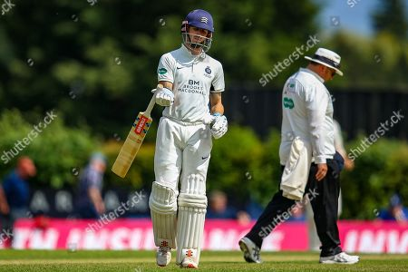 Wicket John Simpson of Middlesex dismissed bowled by Timm van der Gugten of Glamorgan caught by Tom Cullen of Glamorgan during the Specsavers County Champ Div 2 match between Middlesex County Cricket Club and Glamorgan County Cricket Club at Radlett Cricket Ground, Radlett, Herfordshire