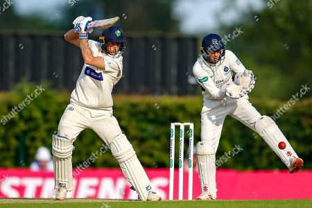 Billy Root of Glamorgan batting and Middlesex wicket keeper John Simpson during the Specsavers County Champ Div 2 match between Middlesex County Cricket Club and Glamorgan County Cricket Club at Radlett Cricket Ground, Radlett, Herfordshire