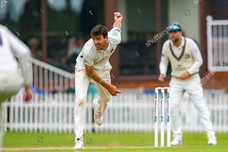 Steven Finn of Middlesex bowling during the Specsavers County Champ Div 2 match between Middlesex County Cricket Club and Glamorgan County Cricket Club at Radlett Cricket Ground, Radlett, Hertfordshire