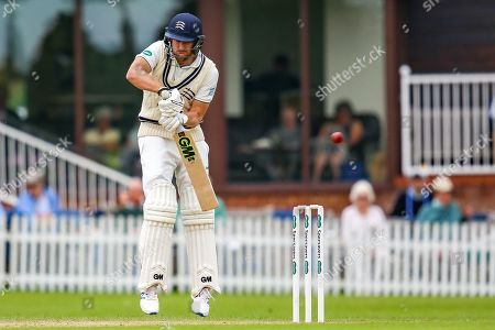 Wicket! Dawid Malan of Middlesex tries to defend and is caught behind by Tom Cullen of Glamorgan during the Specsavers County Champ Div 2 match between Middlesex County Cricket Club and Glamorgan County Cricket Club at Radlett Cricket Ground, Radlett, Hertfordshire