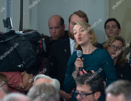 Stock Photo of Laura Kuenssberg of the BBC asks a question