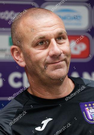 RSCA Anderlecht's new coach Simon Davies reactsduring a press conference at Constant Vanden Stock Stadium in Brussels, Belgium, 17 June 2019.