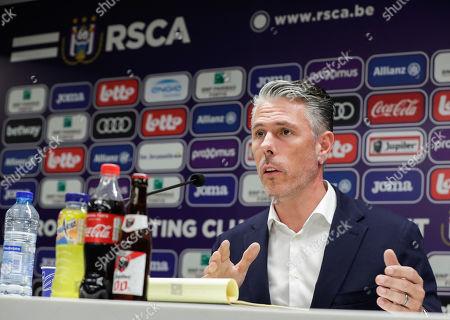 RSCA Anderlecht's sports director Michael Verschueren reacts during a press conference to introduce RSCA Anderlecht's new coach Simon Davies (unseen) at Constant Vanden Stock Stadium in Brussels, Belgium, 17 June 2019.