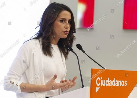 Spokeswoman of Ciudadanos party, Ines Arrimadas, addresses a press conference in Madrid, Spain, to announce the party is withdrawing its support to Barcelona's independent local party chaired by former French Prime Minister Manuel Valls, 17 June 2019. This decision comes after Valls decided to support the reelection of Ada Colau as Mayoress of Barcelona to avoid pro-independent candidate Ernest Maragall became the Mayor.