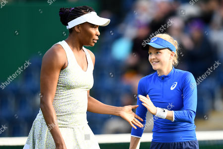 Venus Williams of the USA and Harriet Dart of Great Britain during the Womens double match against Nadia Kichenok of the Ukraine and Abigail Spears of the USA.
