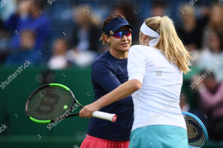 Stock Picture of Nadia Kichenok of the Ukraine and Abigail Spears of the USA in their doubles match against Venus Williams of the USA and Harriet Dart of Great Britain.