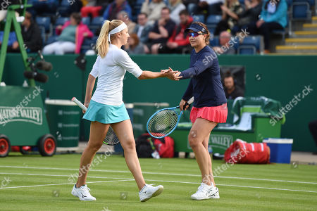 Nadia Kichenok of the Ukraine and Abigail Spears of the USA in their doubles match against Venus Williams of the USA and Harriet Dart of Great Britain.
