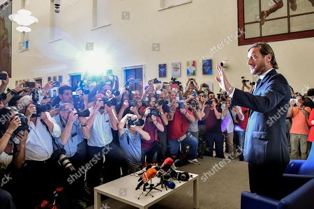 Former AS Roma captain Francesco Totti arrives for a press conference at the offices of the Italian Olympic Committee (CONI) in Rome, Italy, 17 June 2019. AS Roma legend Francesco Totti announced that he was resigning from his position as an executive for the Serie A club.