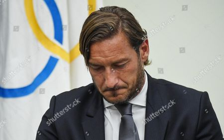 Former AS Roma captain Francesco Totti reacts during a press conference at the offices of the Italian Olympic Committee (CONI) in Rome, Italy, 17 June 2019. AS Roma legend Francesco Totti announced that he was resigning from his position as an executive for the Serie A club. Totti says leaving AS Roma after 30 years is 'like dying'.