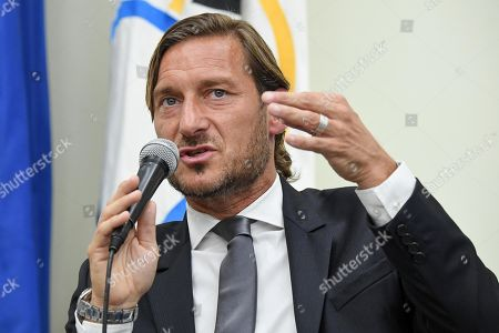 Former AS Roma captain Francesco Totti speaks during a press conference at the offices of the Italian Olympic Committee (CONI) in Rome, Italy, 17 June 2019. AS Roma legend Francesco Totti announced that he was resigning from his position as an executive for the Serie A club.