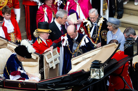 Stock Photo of Following a service for the Most Noble Order of the Garter, the Duke of Kent, and the Duke and Duchess of Gloucester leaves St George's Chapel, Windsor Castle