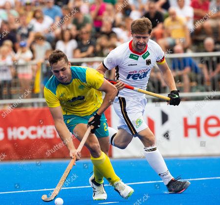 Krefeld, Germany, 16.06.2019, Herren Hockey, FIH Pro League, Germany vs. Australien:  Tom Craig (Australien, L) and Martin Haener (Germany)  - .