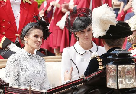 Catherine Duchess of Cambridge and Queen Letizia during the annual Order of the Garter Service