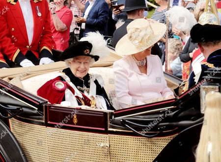 Queen Elizabeth II and Camilla Duchess of Cornwall during the annual Order of the Garter Service