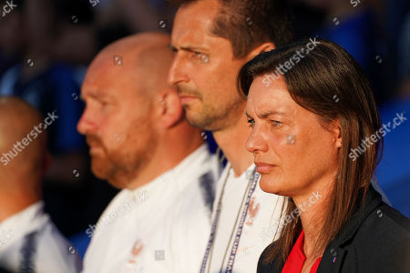 Corinne Diacre (R), head coach of France, during the FIFA Women's World Cup 2019 Group A soccer match between Nigeria and France in Rennes, France, 17 June 2019.