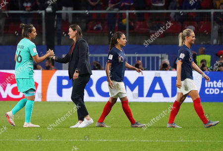 Corinne Diacre (2-L), head coach of France celebrates with Sarah Bouhaddi (L) of France after the FIFA Women's World Cup 2019 Group A soccer match between Nigeria and France in Rennes, France, 17 June 2019.