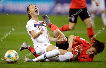 Norway's Caroline Graham Hansen, left, reacts as she is fouled in the penalty box by South Korea's Kang Chae-rim during the Women's World Cup Group A soccer match between Norway and South Korea at the Stade Auguste-Delaune in Reims, France
