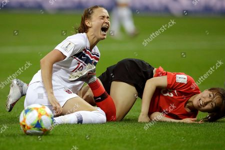 Stock Image of Norway's Caroline Graham Hansen, left, reacts as she is fouled in the penalty box by South Korea's Kang Chae-rim during the Women's World Cup Group A soccer match between Norway and South Korea at the Stade Auguste-Delaune in Reims, France
