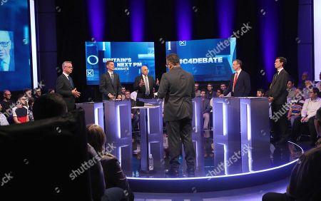 Prime Minister candidates Michael Gove, Jeremy Hunt, Sajid Javid, Dominic Raab, Rory Stewart and presenter Krishnan Guru-Murthy