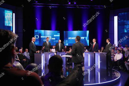 Prime Minister candidates Michael Gove, Jeremy Hunt, Sajid Javid, Dominic Raab and Rory Stewart and presenter Krishnan Guru-Murthy